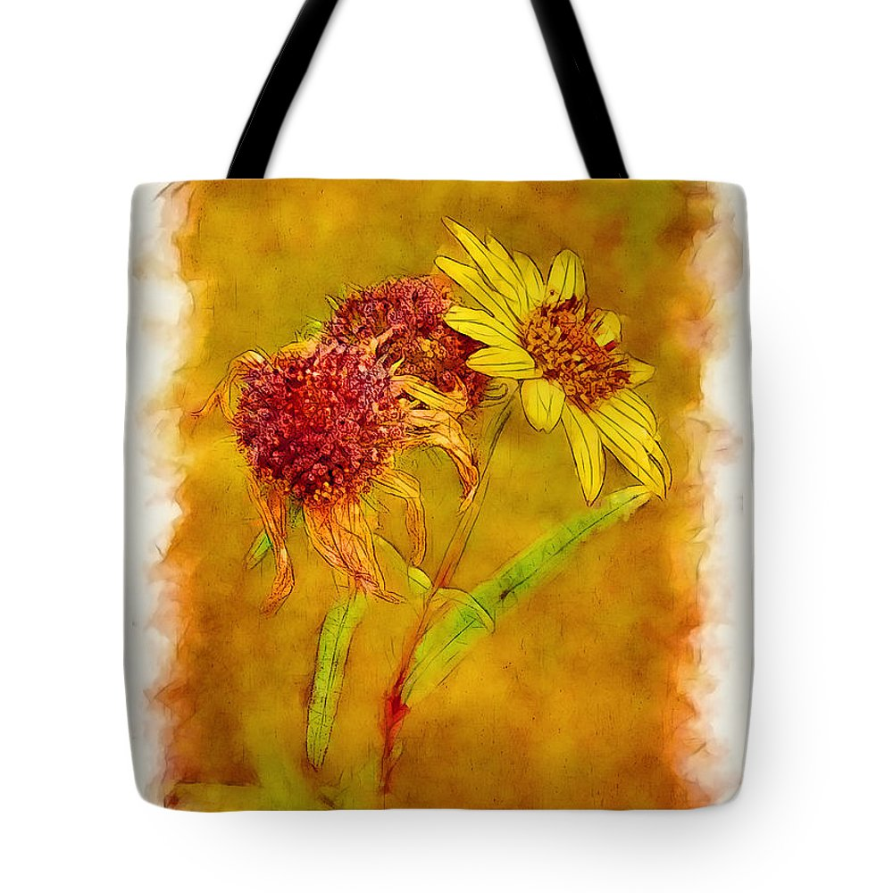 Fall Tote Bag featuring the photograph Sunflowers In Fall by Judi Bagwell