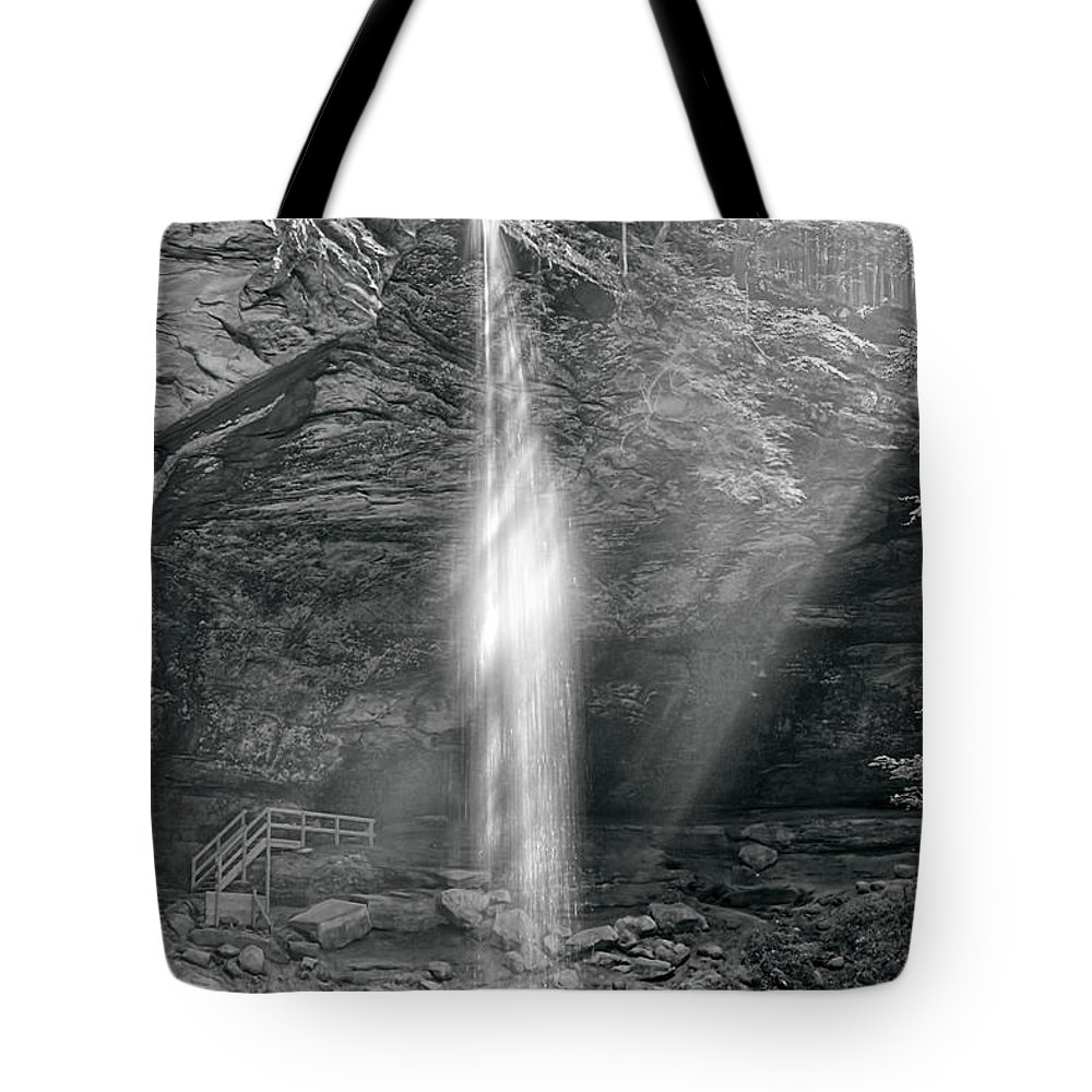 Water Fall Tote Bag featuring the photograph Sunlight Falls by Mary Almond