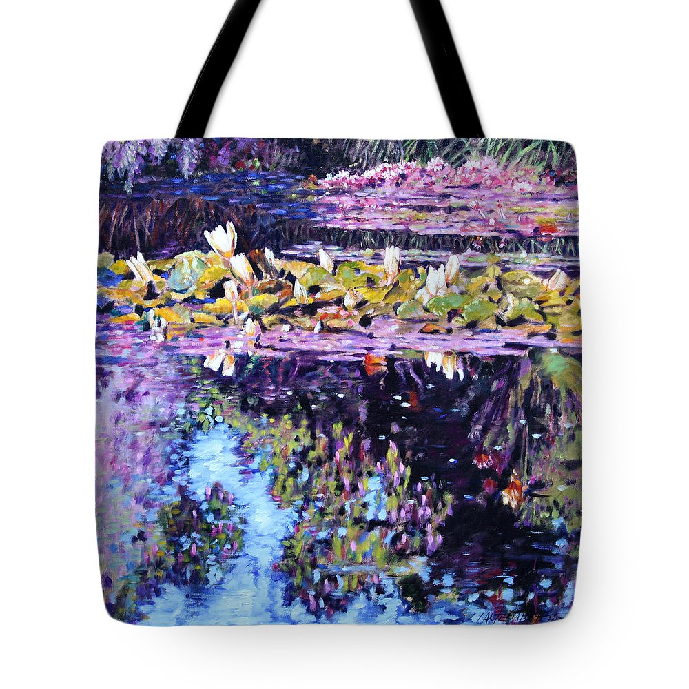 Water Lilies Tote Bag featuring the painting Sunny Day Impressions by John Lautermilch