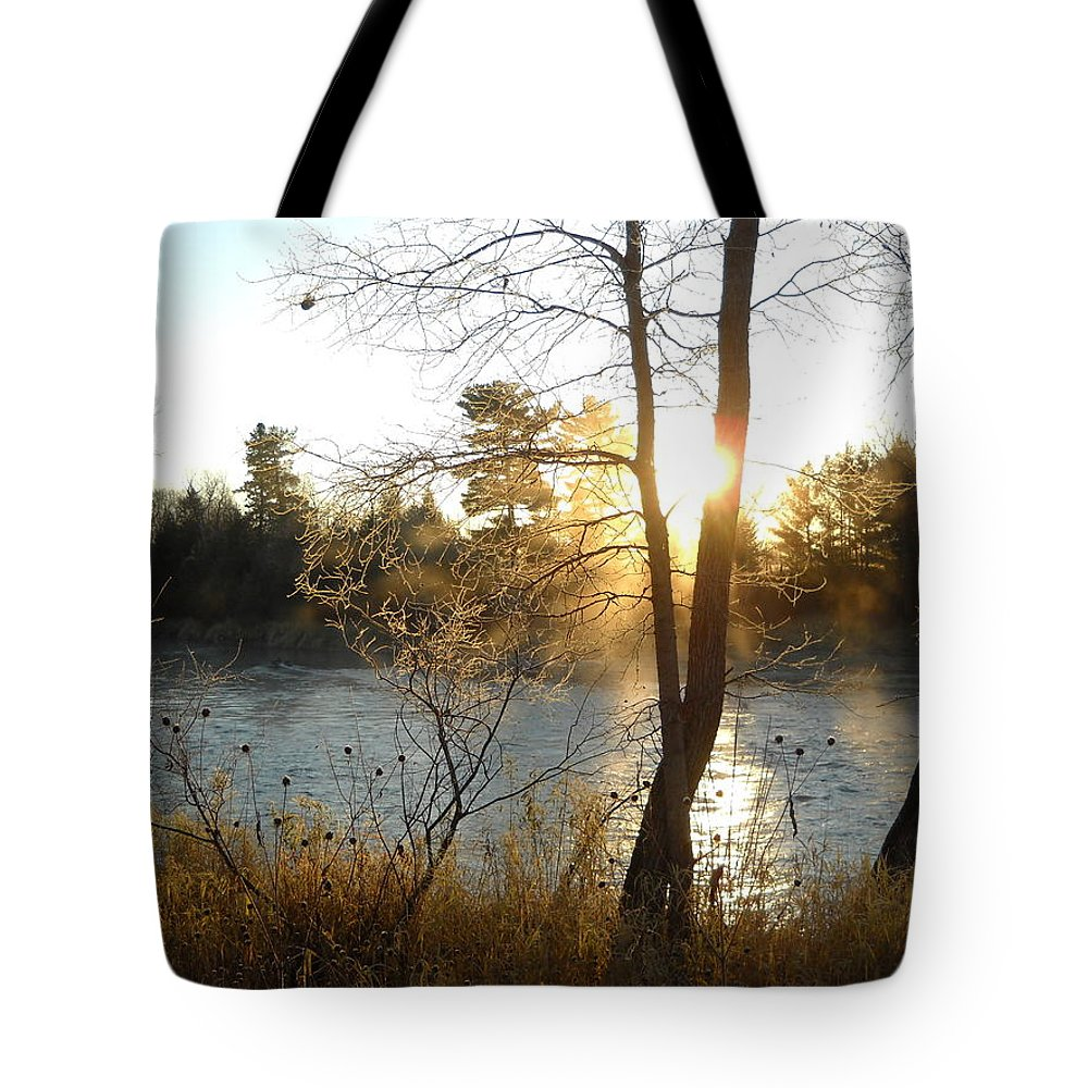 Mississippi River Tote Bag featuring the photograph Sunrise Across The Mississippi by Kent Lorentzen