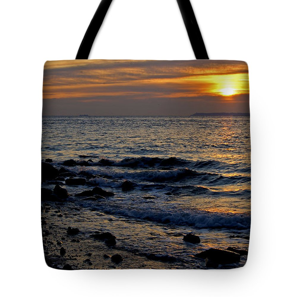 Staten Island Tote Bag featuring the photograph Sunrise At Mt Loretto Beach by Nancy De Flon