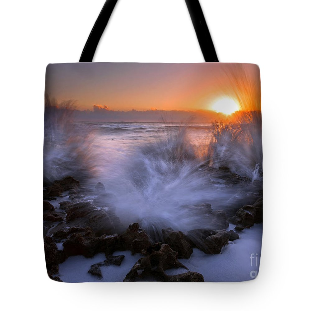 Coral Cove Tote Bag featuring the photograph Sunrise Explosion by Mike Dawson