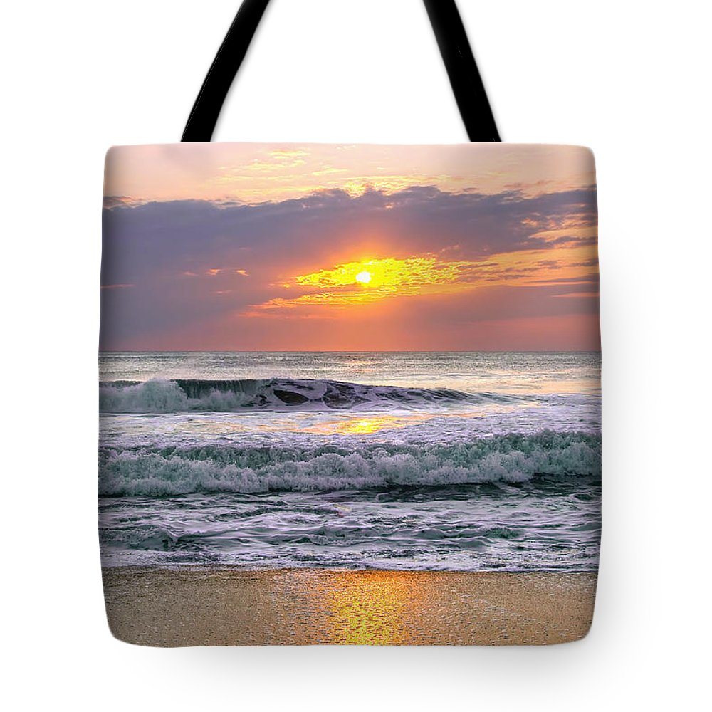 Outer Banks Tote Bag featuring the photograph Sunrise On The Outer Banks by Mary Almond