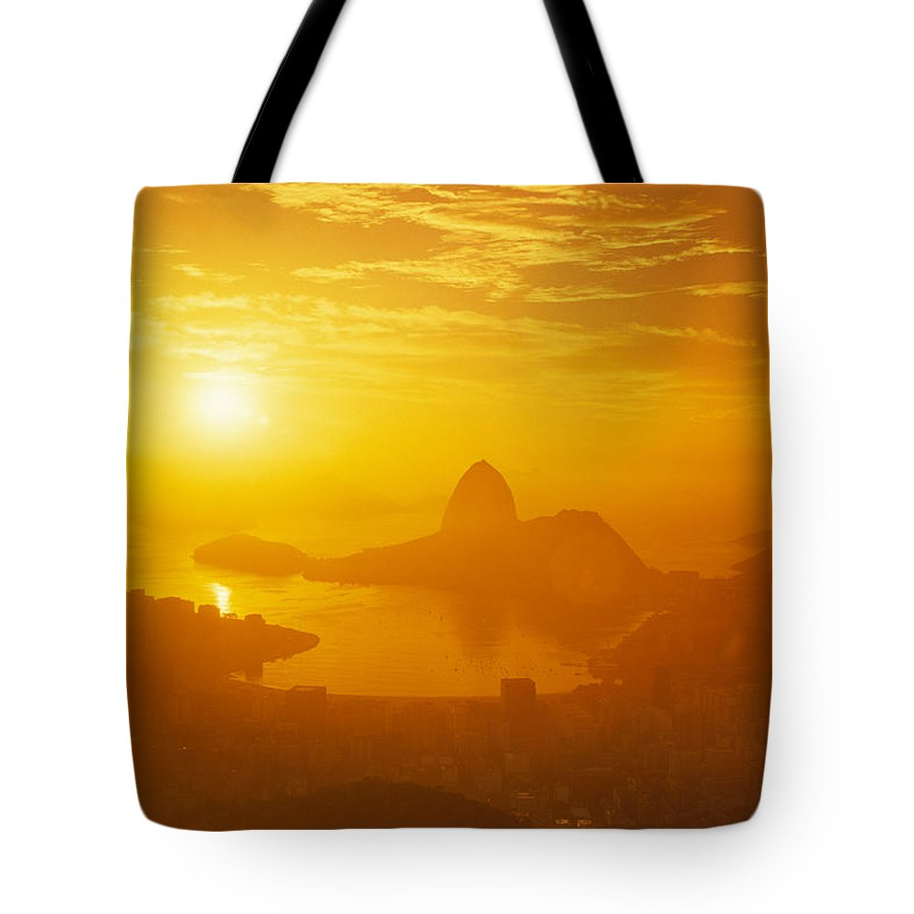 South America Tote Bag featuring the photograph Sunrise Over Rio De Janeiro And Sugar by Richard Nowitz