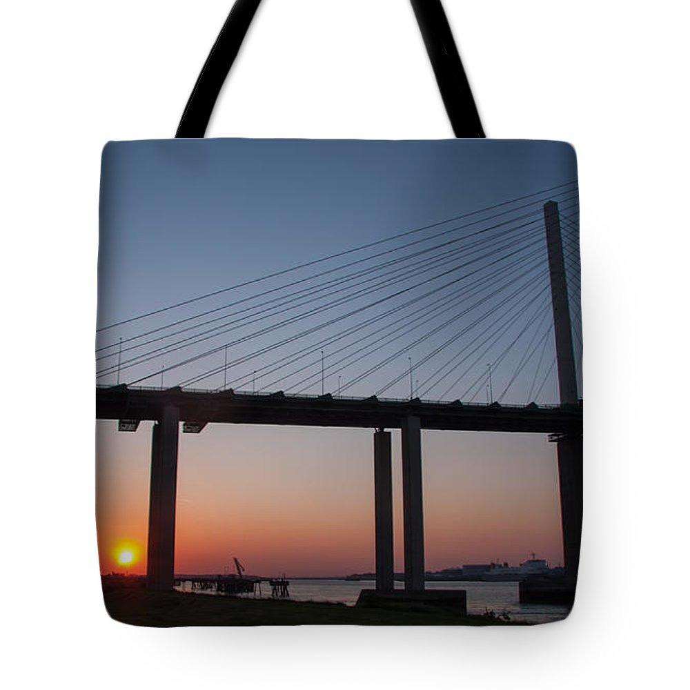 Dartford River Crossing Tote Bag featuring the photograph Sunset At Dartford Bridge by Dawn OConnor