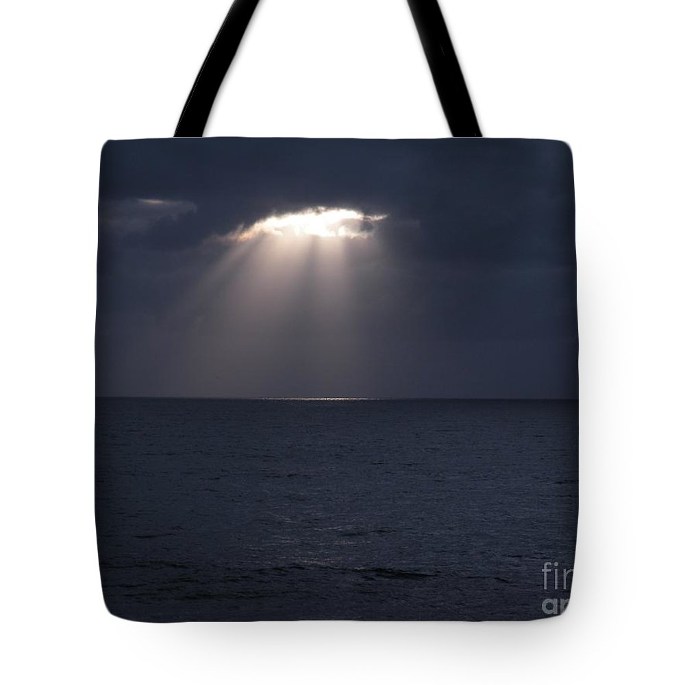 Ocean Photos Tote Bag featuring the photograph Sunset At The Beach by Saundra Lane Galloway