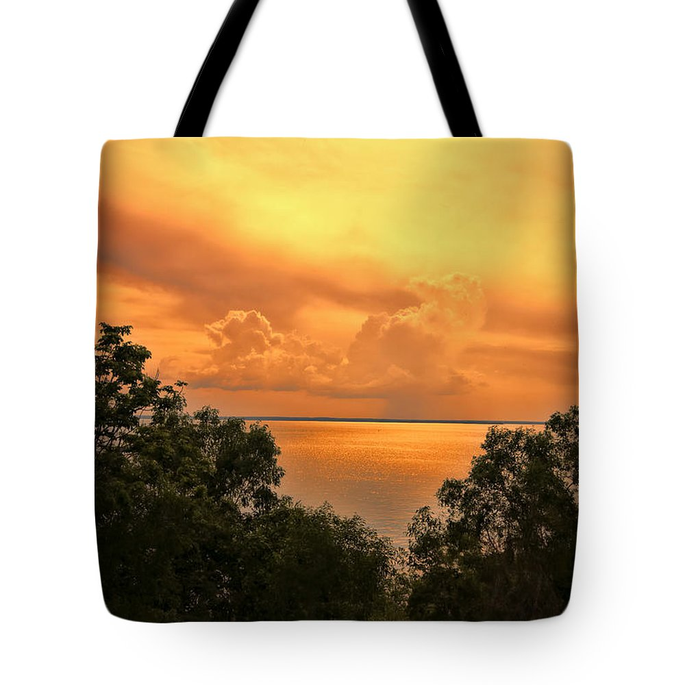 Clouds Tote Bag featuring the photograph Sunset At The Esplanade by Douglas Barnard