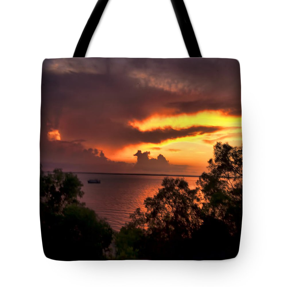 Darwin-northern Territory Tote Bag featuring the photograph Sunset At The Top-end by Douglas Barnard