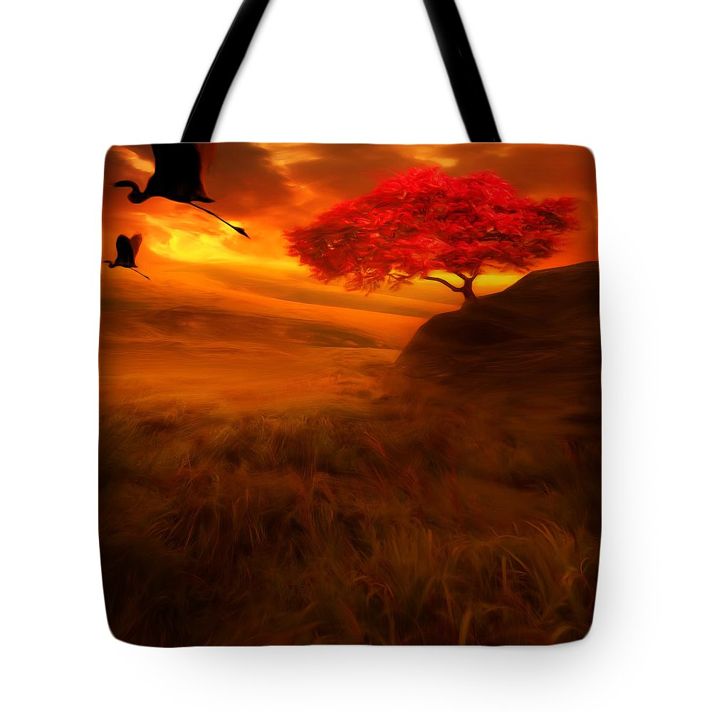 Crane Tote Bag featuring the photograph Sunset Duet by Lourry Legarde