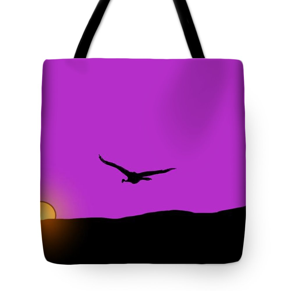 Sunset Tote Bag featuring the painting Sunset Flight by George Pedro