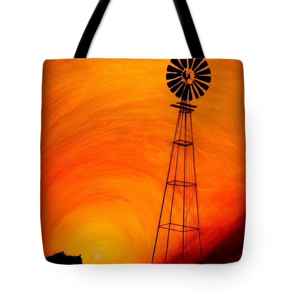 Sunset Tote Bag featuring the painting Sunset by J Vincent Scarpace