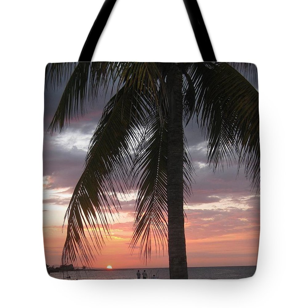 Sunset Montego Bay Tote Bag featuring the painting Sunset Montego Bay by John Malone