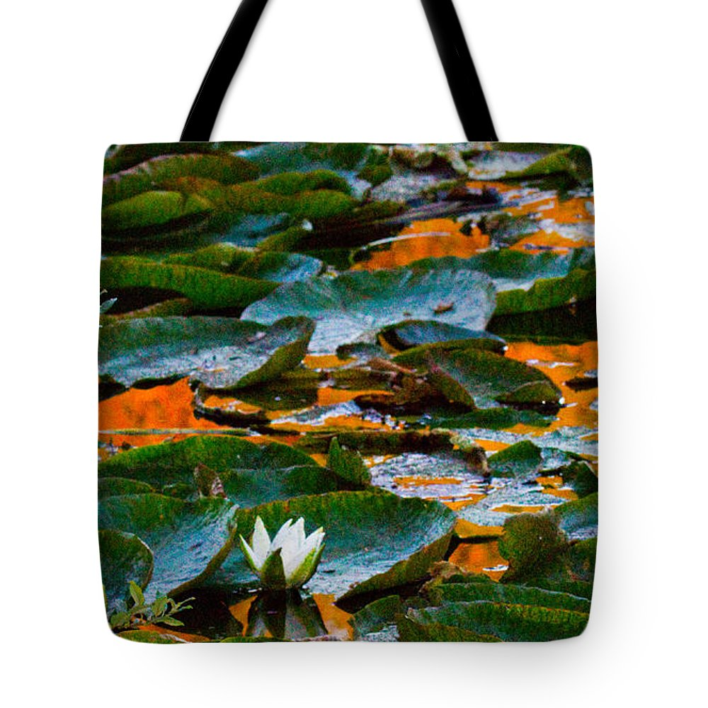 Sunset Tote Bag featuring the photograph Sunset On A Lily Pond by Marie Jamieson