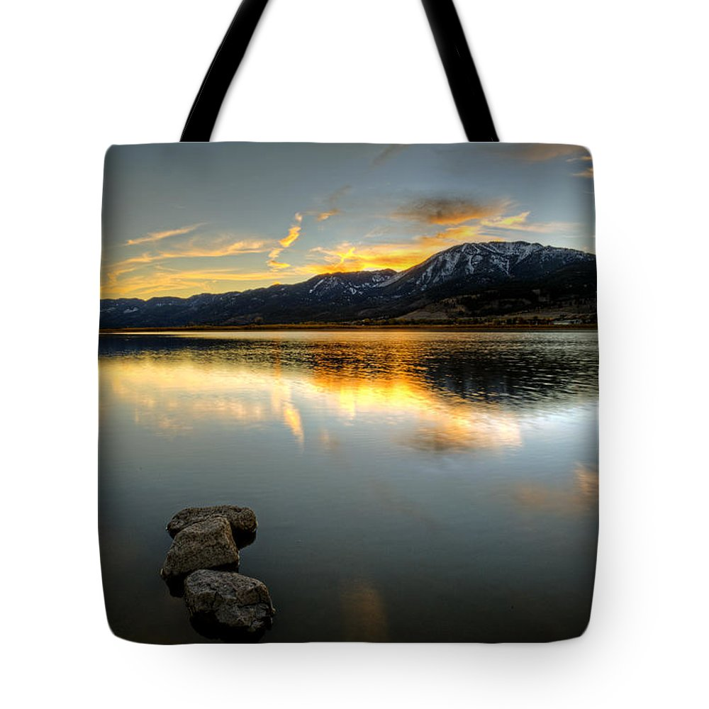 Lake Tote Bag featuring the photograph Sunset On Little Washoe by Dianne Phelps