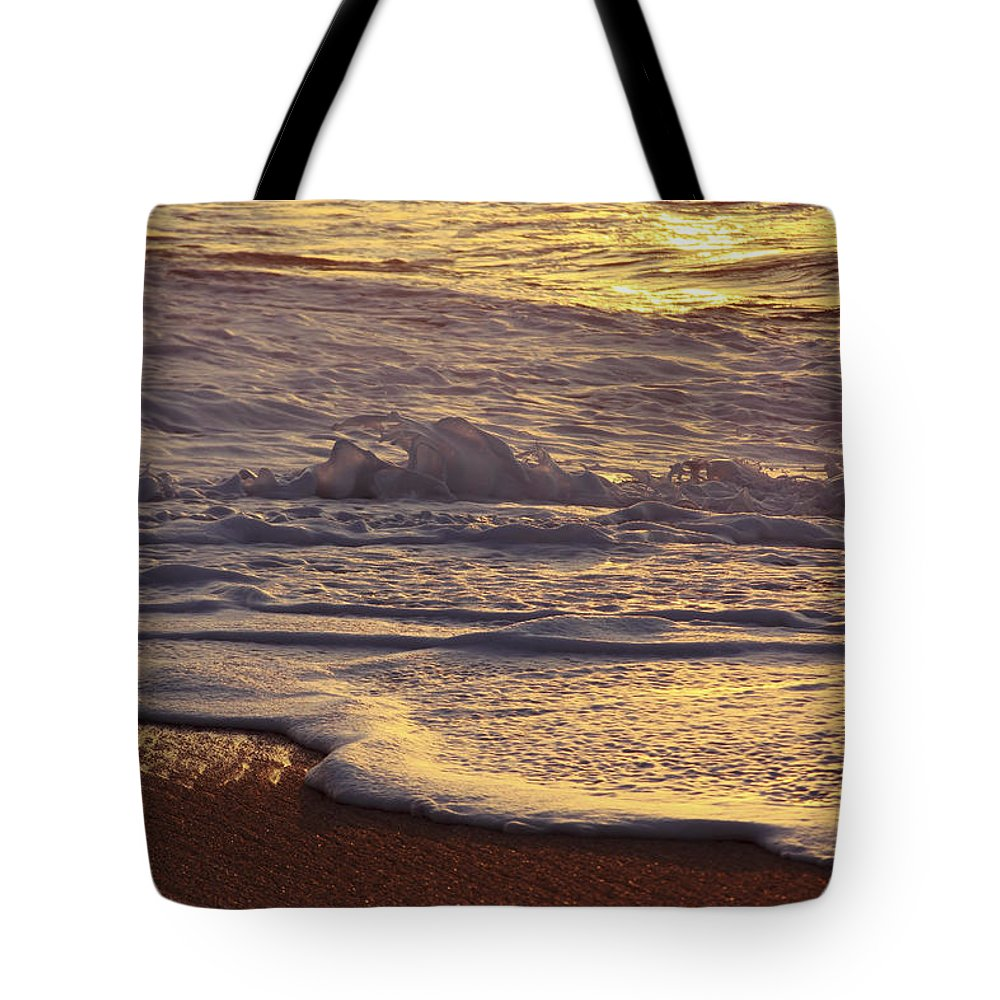 Artistic Tote Bag featuring the photograph Sunset On Small Wave by Vince Cavataio - Printscapes