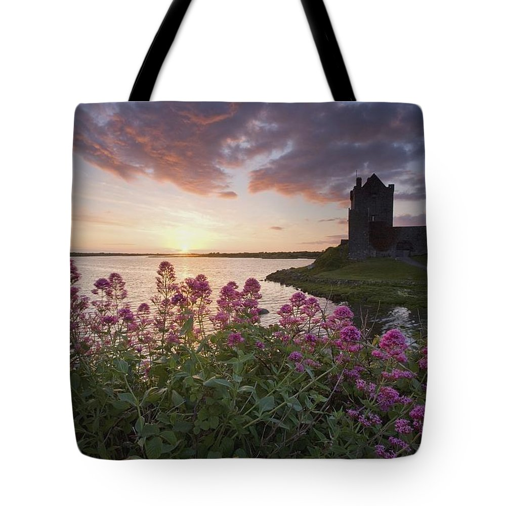 Castle Tote Bag featuring the photograph Sunset Over Dunguaire Castle, Kinvara by Gareth McCormack