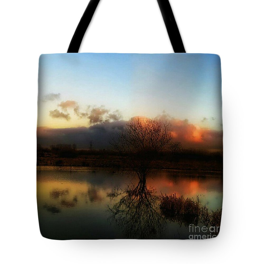 1stangel Tote Bag featuring the photograph Sunset Reflections by Isabella F Abbie Shores