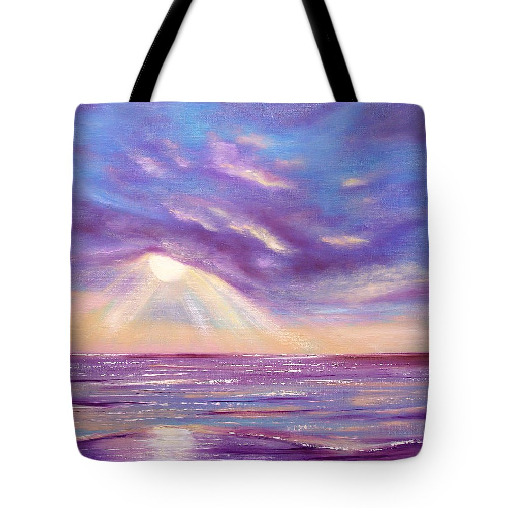 Sunset Tote Bag featuring the painting Sunset Spectacular by Gina De Gorna