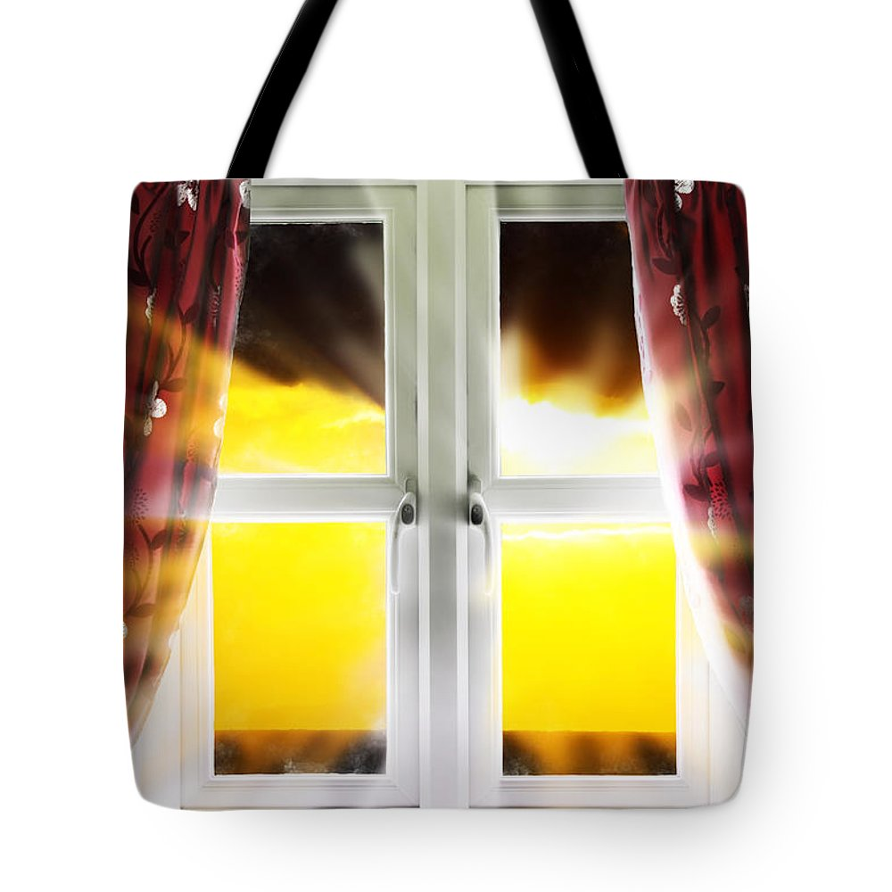 Window Tote Bag featuring the photograph Sunset Through Window by Simon Bratt Photography LRPS