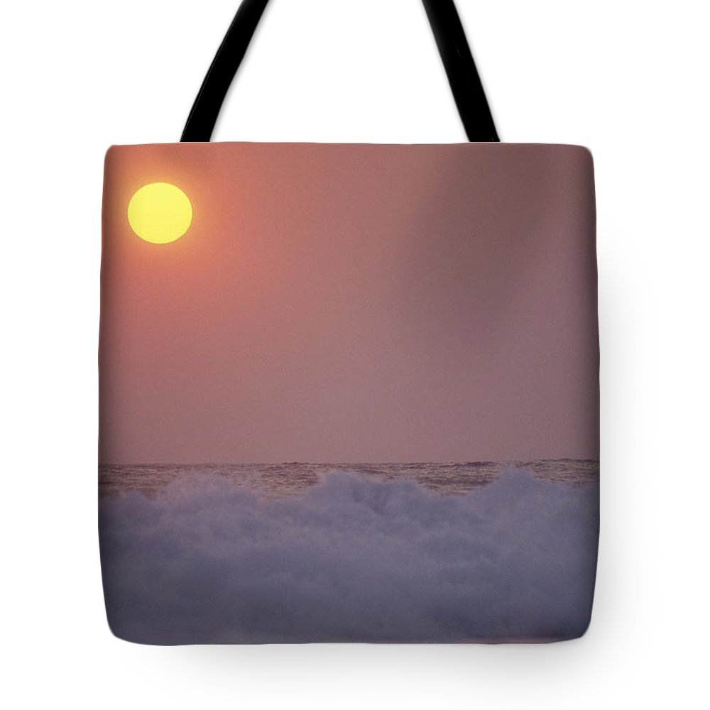 Water Tote Bag featuring the photograph Surf Breaks On A Puerto Escondido Beach by Raul Touzon