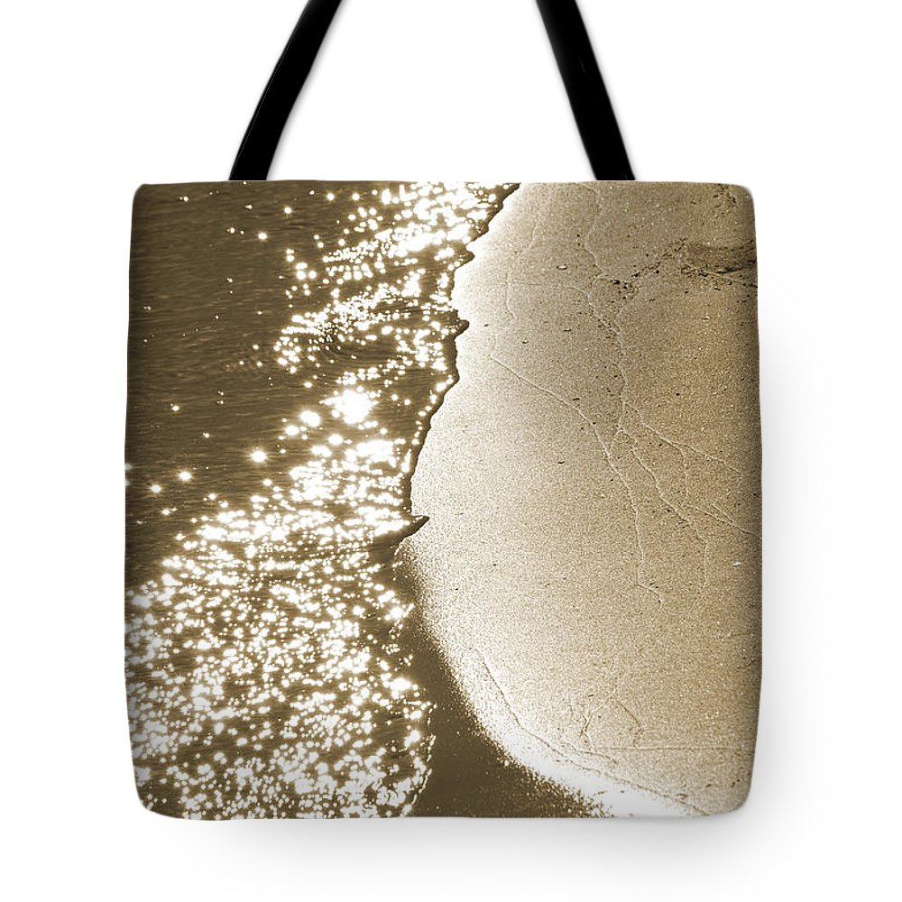 Waterline Tote Bag featuring the photograph Surfs Edge In Sepia by Christine Stonebridge
