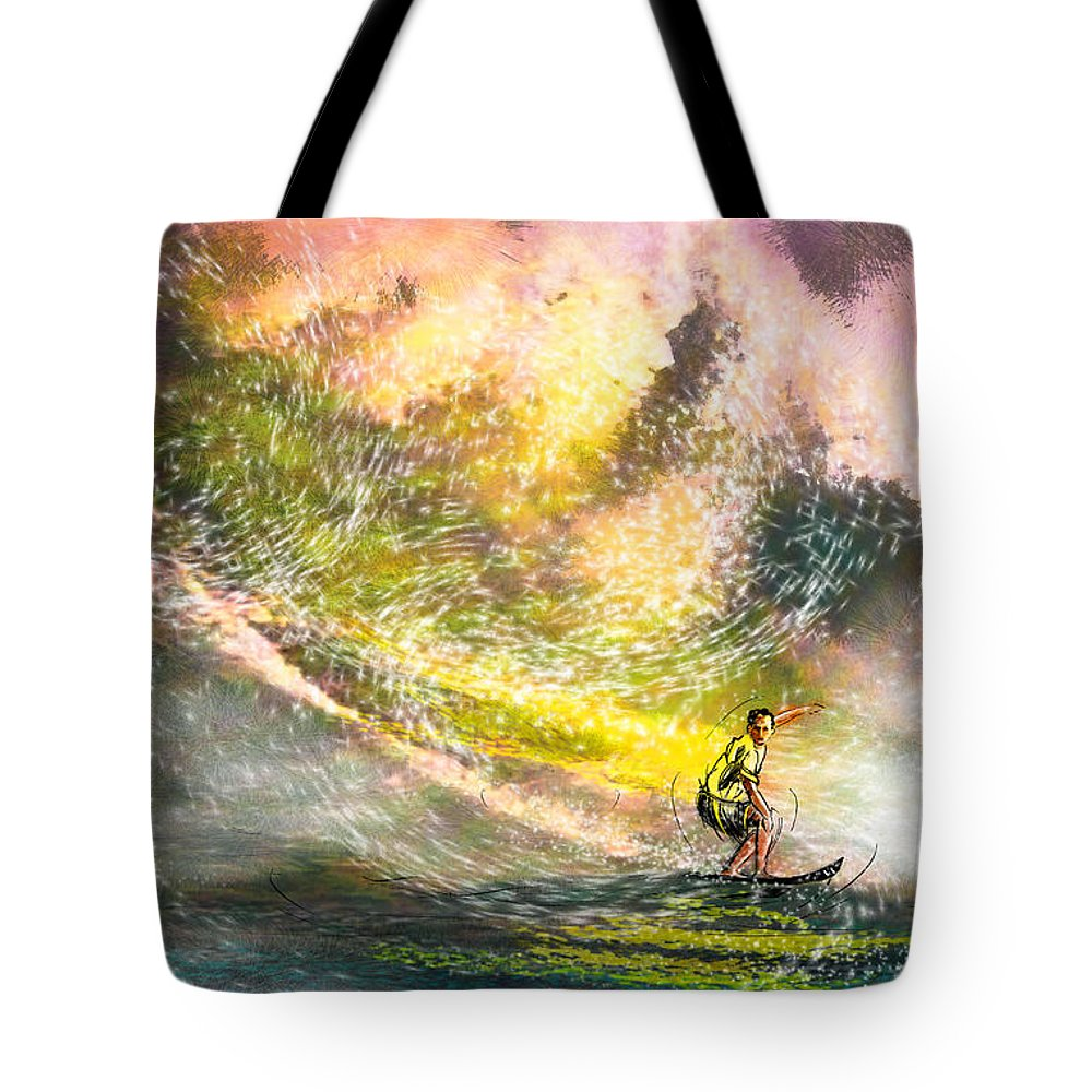 Sports Tote Bag featuring the painting Surfscape 02 by Miki De Goodaboom