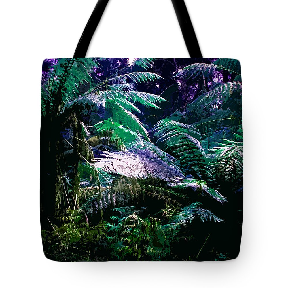 Tropical Tote Bag featuring the digital art Surreal Tropical Forest Drawing Illustrated Scene by Phill Petrovic
