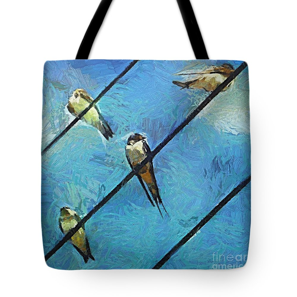Swallows Tote Bag featuring the painting Swallows Goes To South by Dragica Micki Fortuna