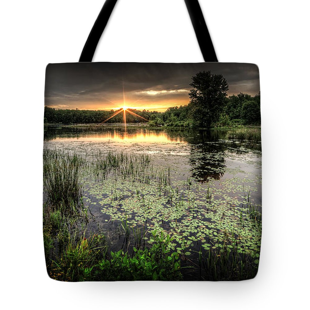 Sunrise Tote Bag featuring the photograph Swamp Sunrise by Everet Regal