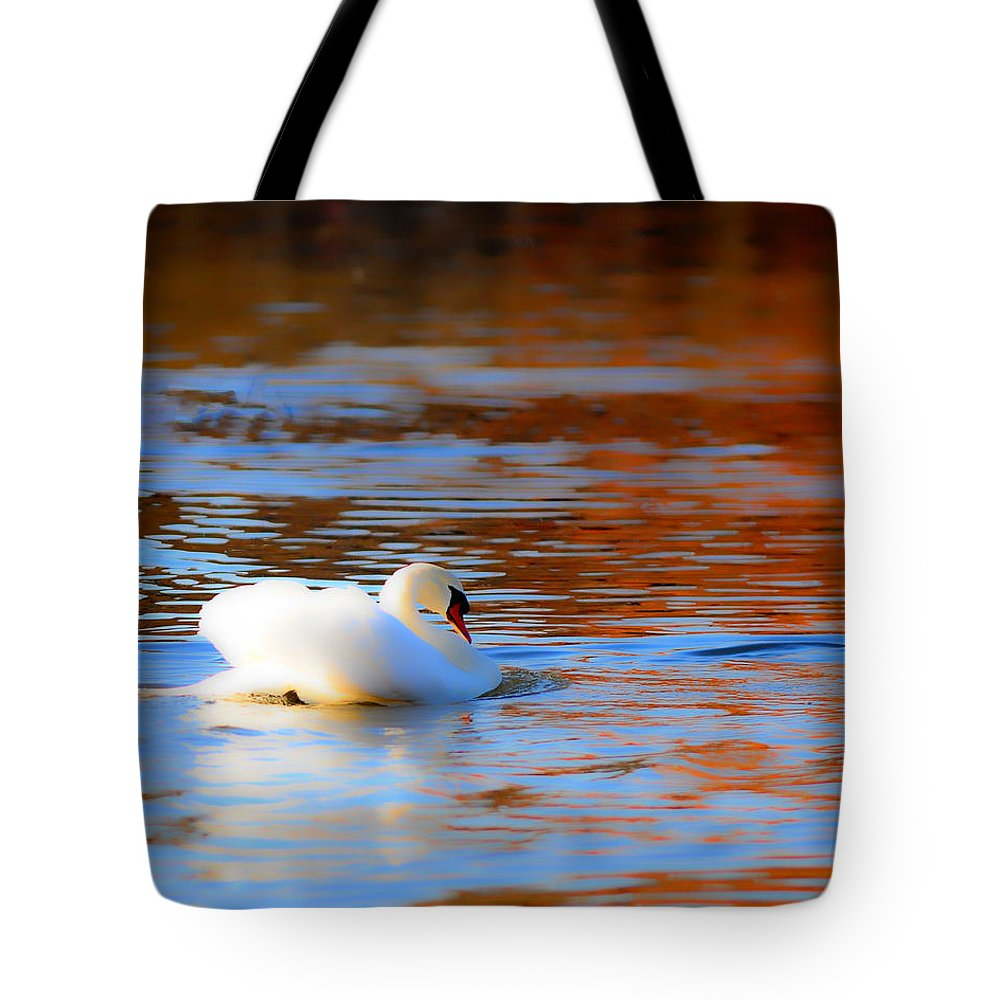 Swan Soft Series Tote Bag featuring the photograph Swan Gold And Blue by Randall Branham