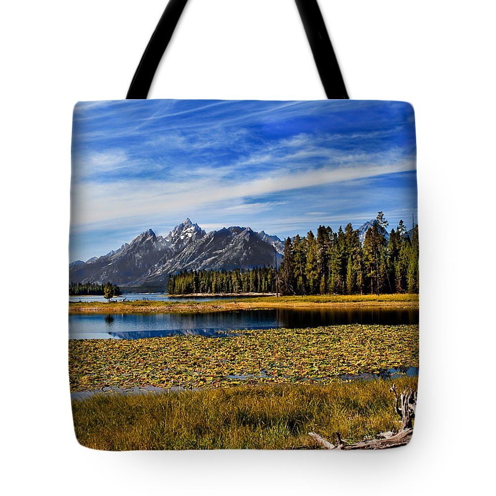 Grand Tetons Tote Bag featuring the photograph Swan Lake by Robert Bales
