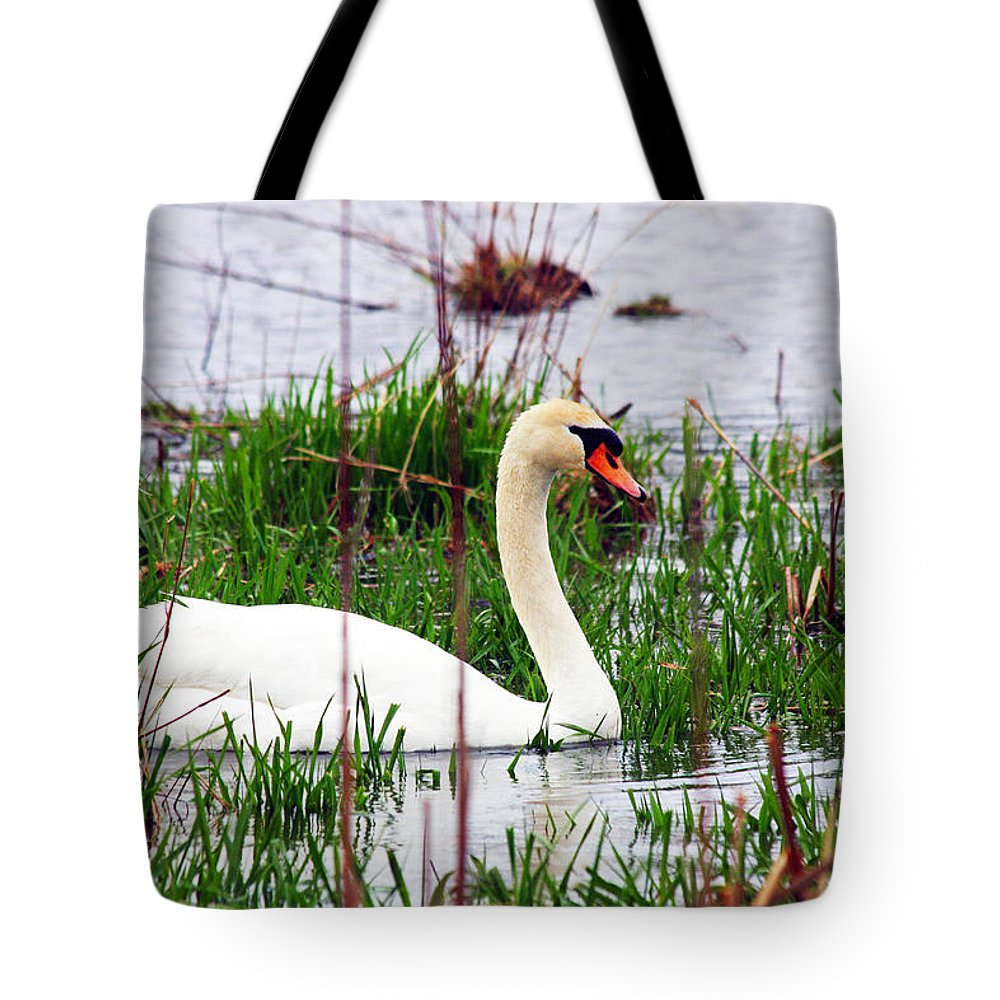 Swan Tote Bag featuring the photograph Swan's Marsh by Marie Jamieson