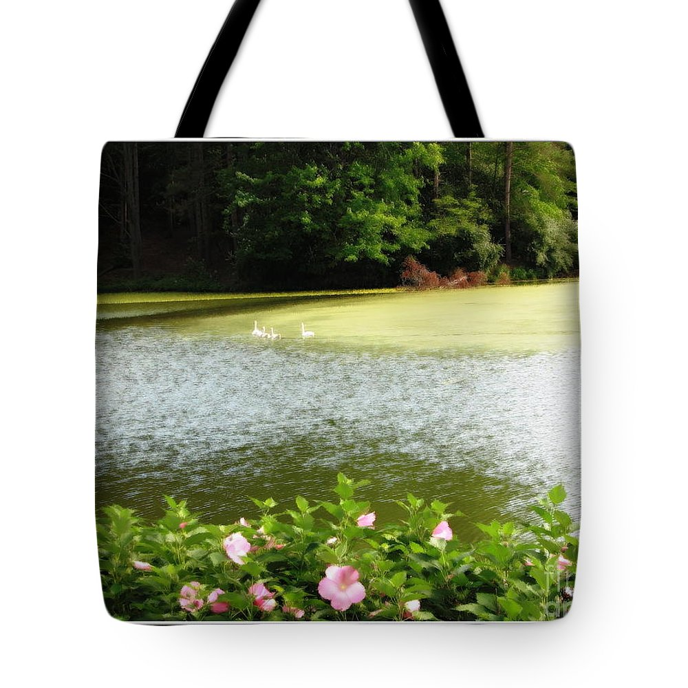 Hibiscuses Tote Bag featuring the photograph Swans On Pond And Hibiscus With Oil Painting Effect by Rose Santuci-Sofranko