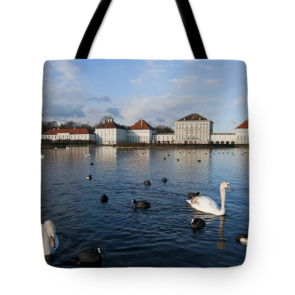 Bavaria Tote Bag featuring the photograph Swans Seen At Nymphenburg Palace by Andrew Michael