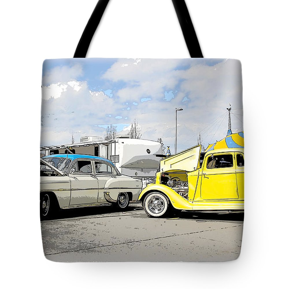 Car Tote Bag featuring the photograph Swap Meet Plymouth And Chevy by Steve McKinzie