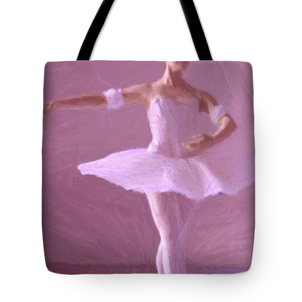 Ballerina Ballet Dancing Dancer Girl Female Dance Floor Room Expressionism Impressionism Painting Gouache Sweet Romantic Romance Tote Bag featuring the painting Sweet Ballerina by Steve K