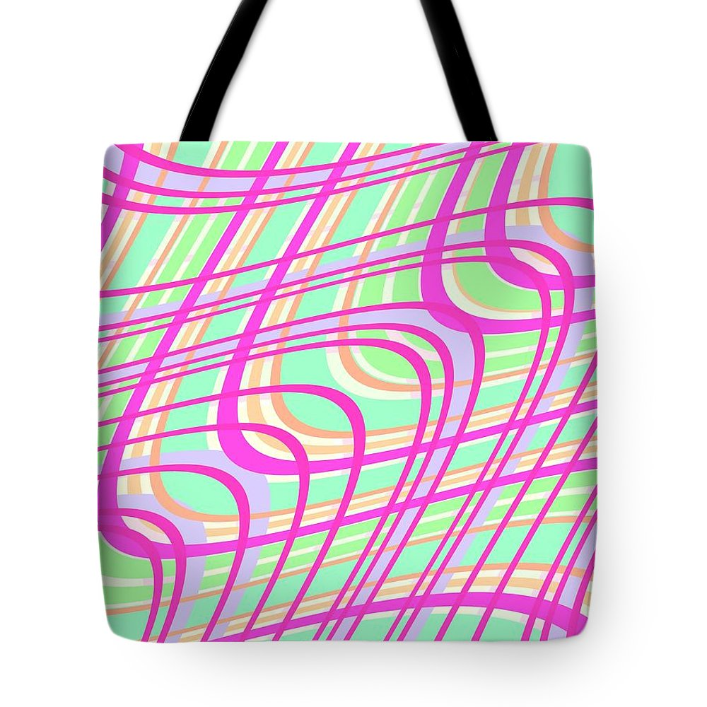 Swirly Check Tote Bag featuring the digital art Swirly Check by Louisa Knight