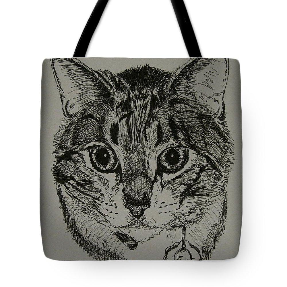 Tabby Cat Tote Bag featuring the drawing Tabby by Susan Herber