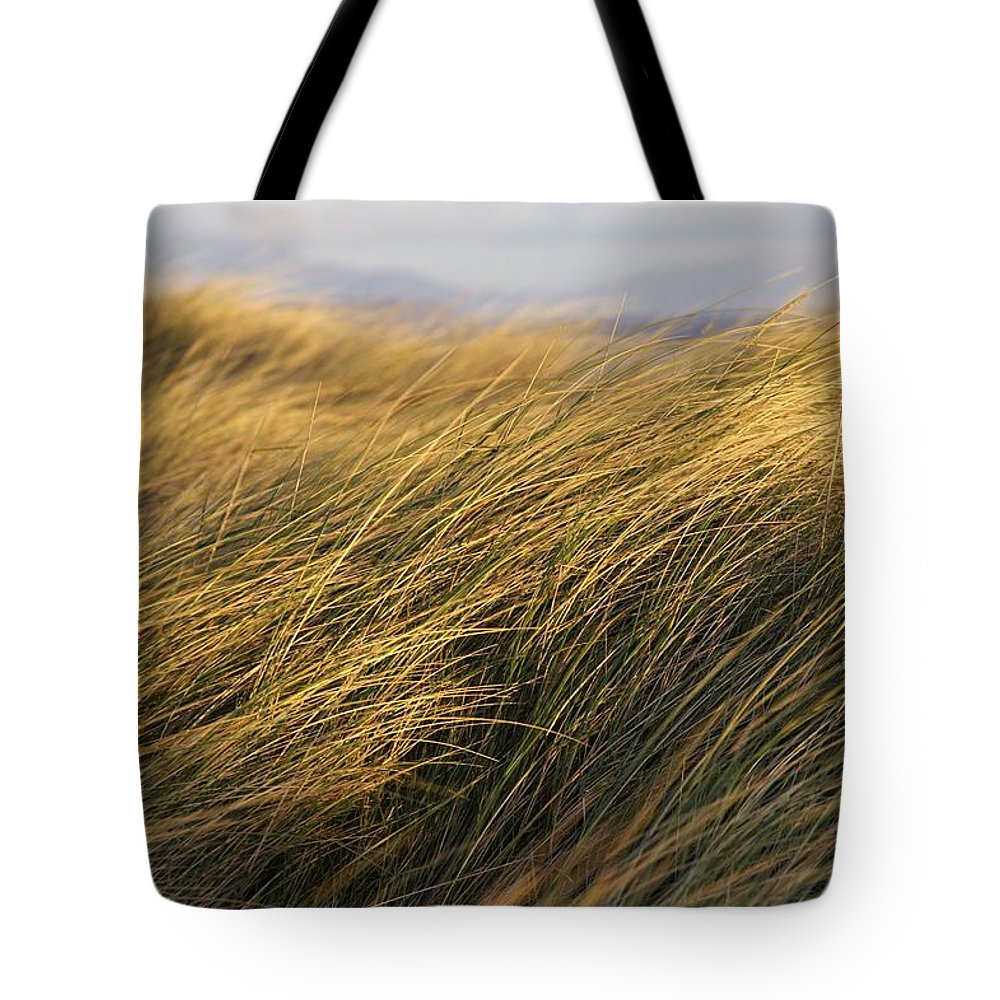 Bending Tote Bag featuring the photograph Tall Grass Blowing In The Wind by Peter McCabe