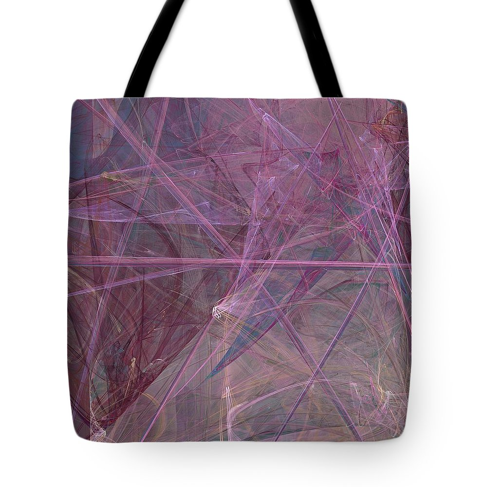 Purple Abstract Tote Bag featuring the digital art Tangled by Christy Leigh