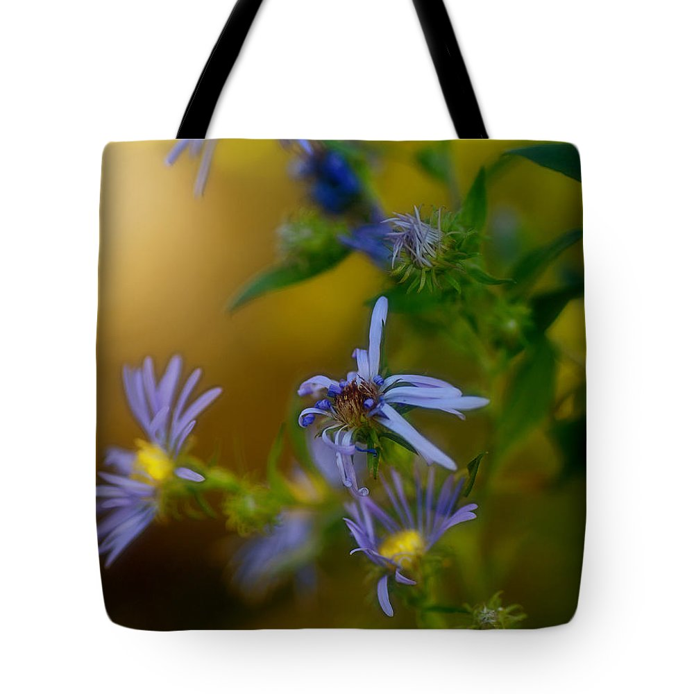 Asters Tote Bag featuring the photograph Tangled Up In Blue by Susan Capuano