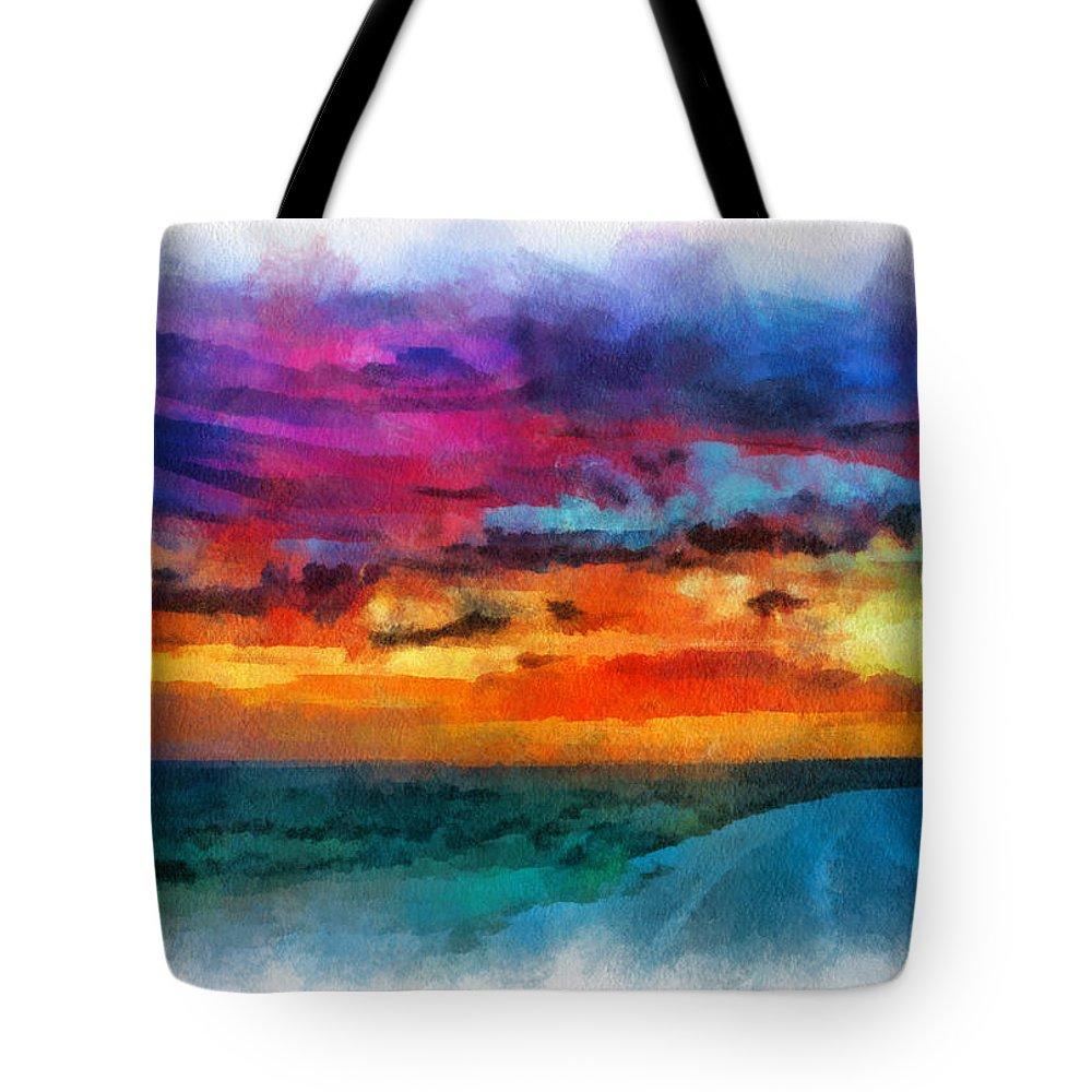 Santa Tote Bag featuring the digital art Taos Sunset Iv Watercolor by Charles Muhle