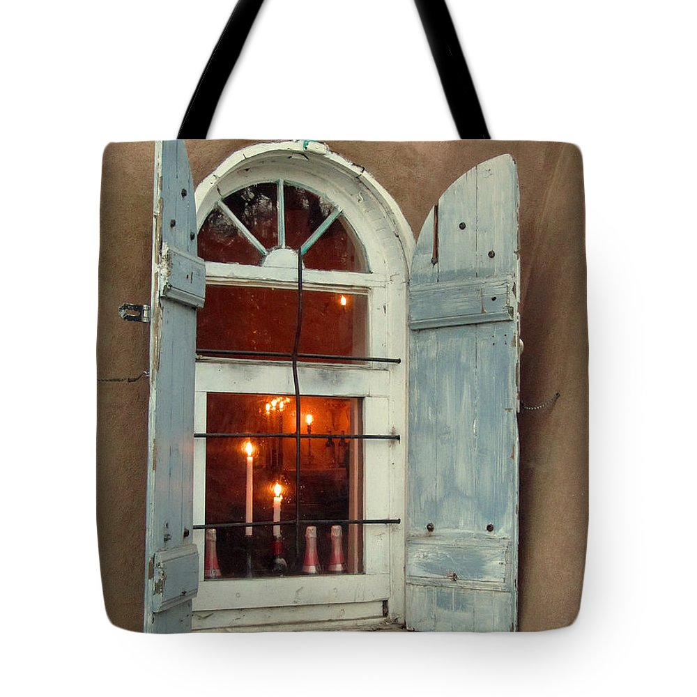 Taos Tote Bag featuring the photograph Taos Window With Candlelight by Elizabeth Rose