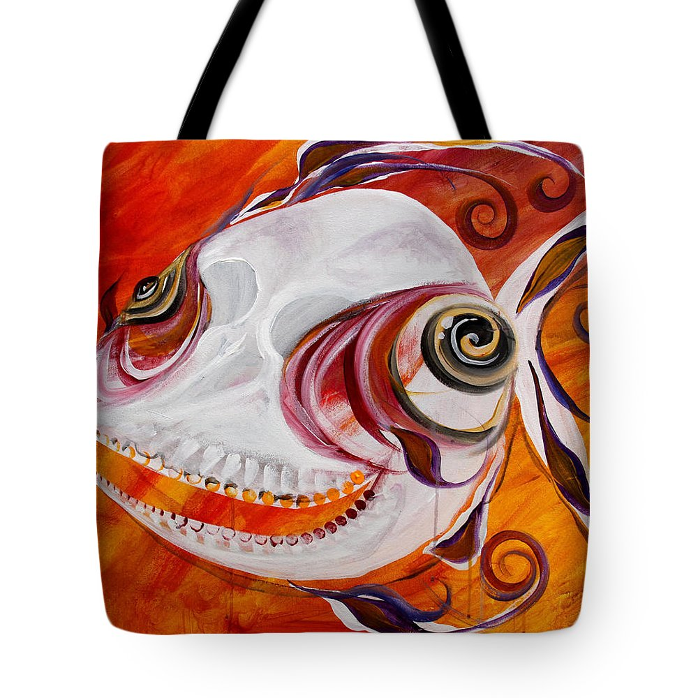 Fish Tote Bag featuring the painting T.b. Chupacabra Fish by J Vincent Scarpace