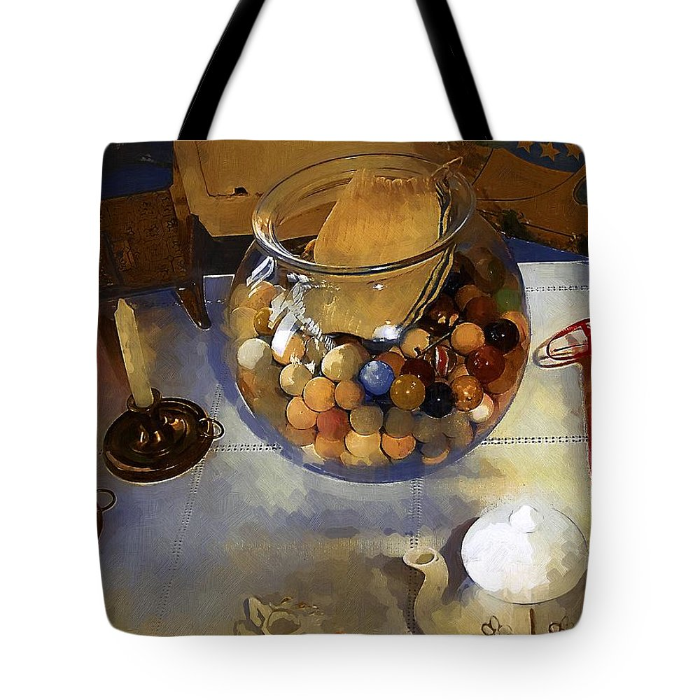 Antiques Tote Bag featuring the painting Tea And Toys by RC DeWinter