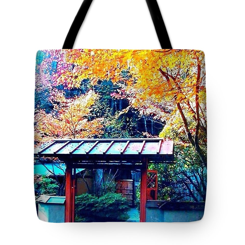 Fall Color Tote Bag featuring the photograph Tea House Gate In The Fall by Anna Porter