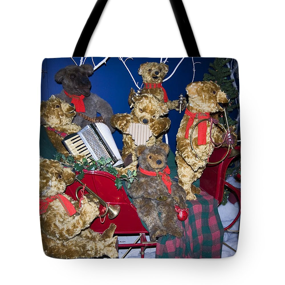Teddy Bear Band Christmas Decoration Tote Bag featuring the photograph Teddy Bear Band Christmas by Sally Weigand