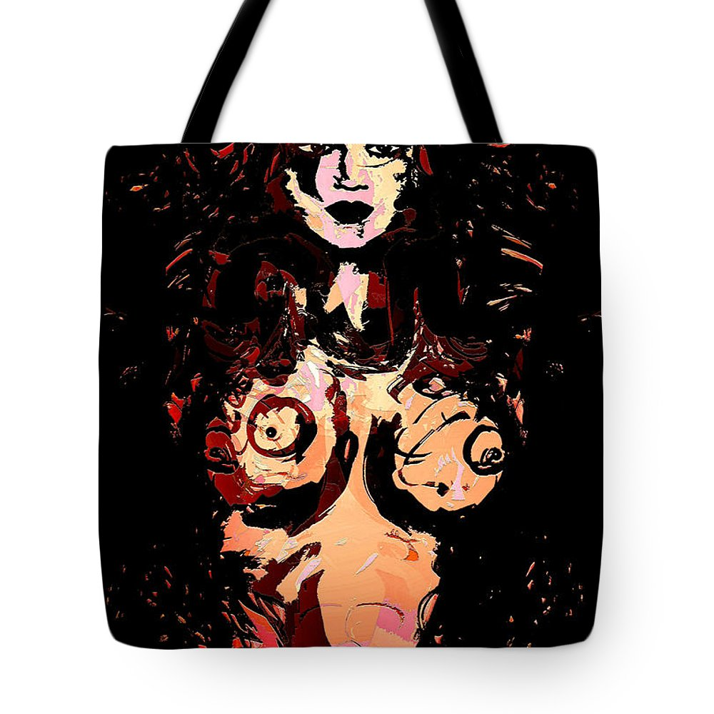 Nude Tote Bag featuring the mixed media Temptress by Natalie Holland