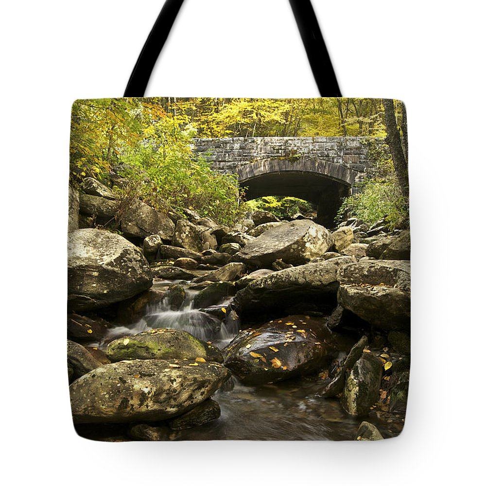 Autumn Tote Bag featuring the photograph Tennessee Stone Bridge 6062 by Michael Peychich