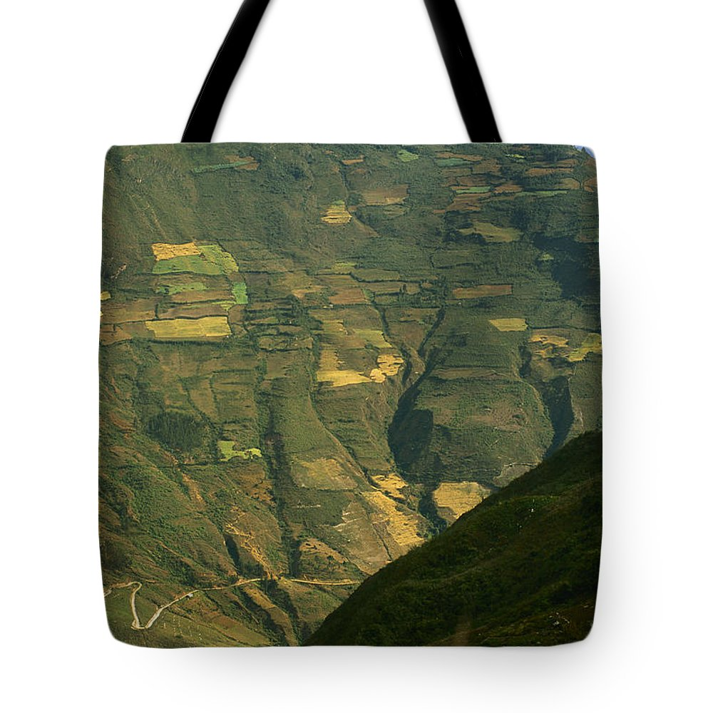 Color Image Tote Bag featuring the photograph Terraced Fields Above Canyon Draining by Gordon Wiltsie